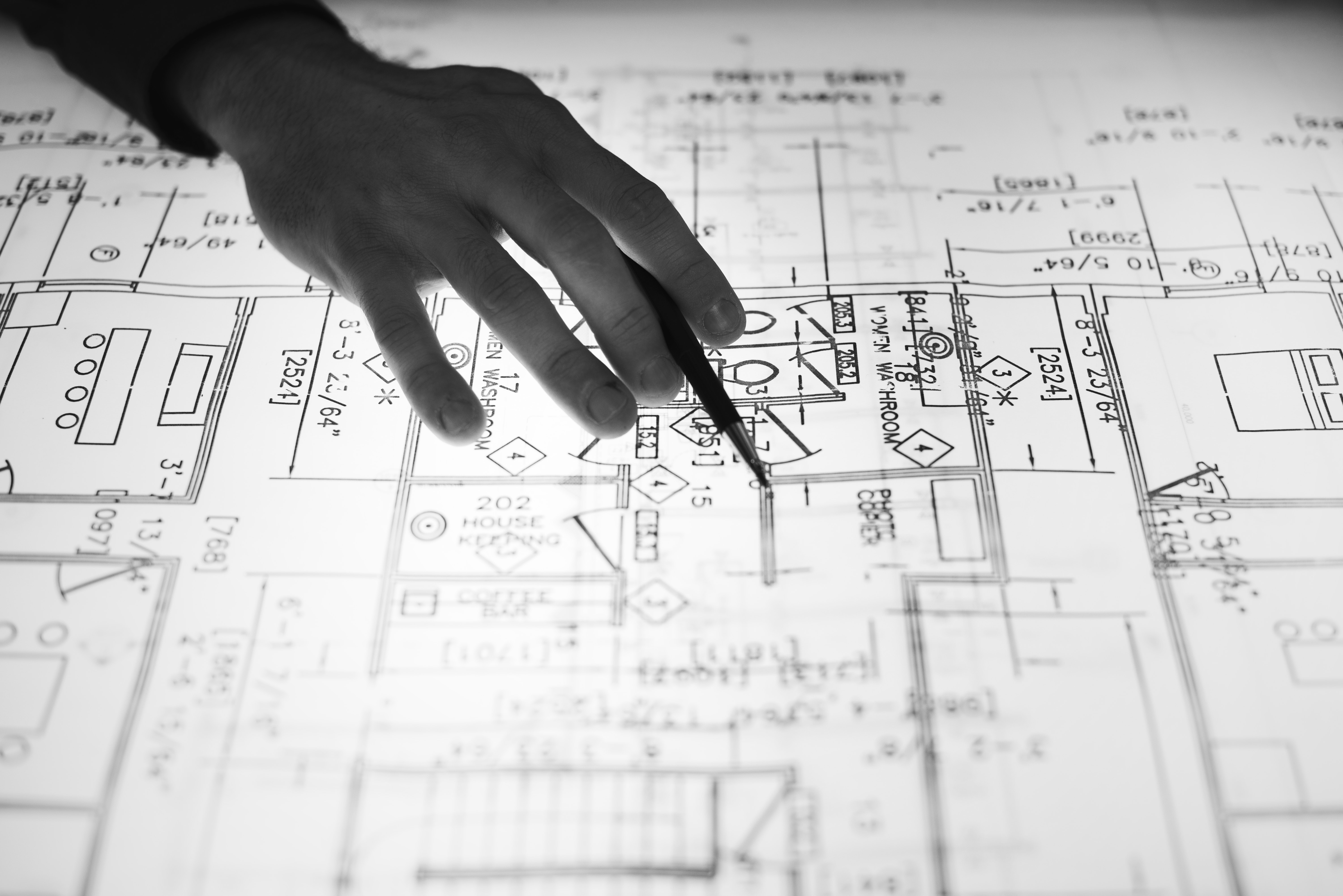 Hand over plans of house being built