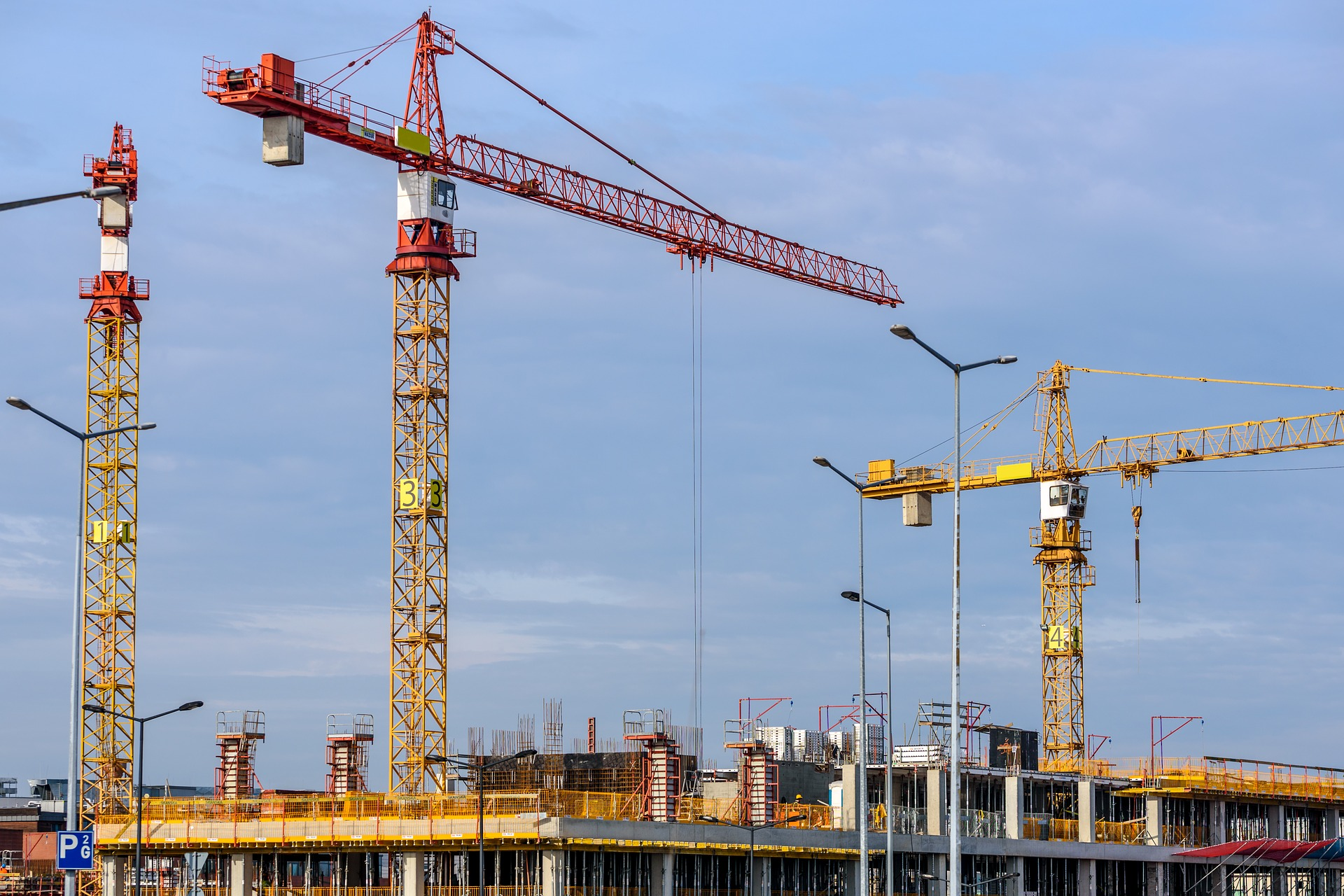 Cranes involved in building a new complex