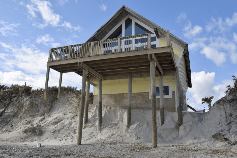Beach home suffering from coastal erosion