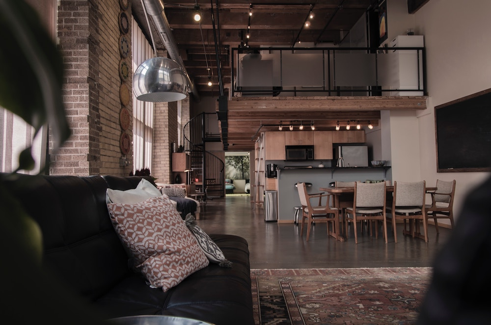 interior of a rustic barn conversion