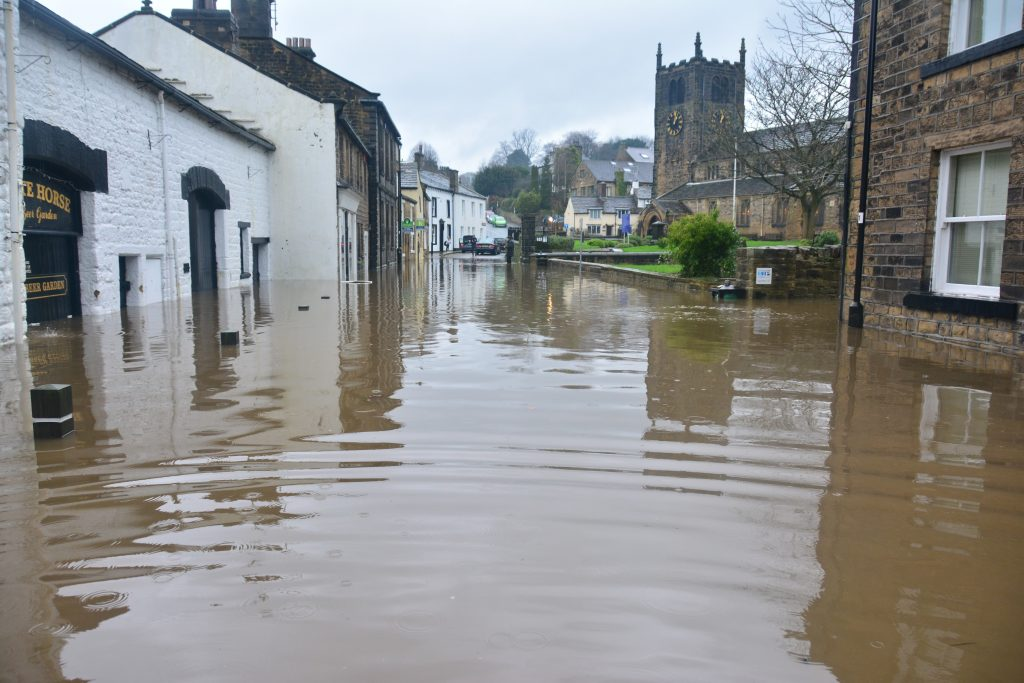 extreme flood in british town