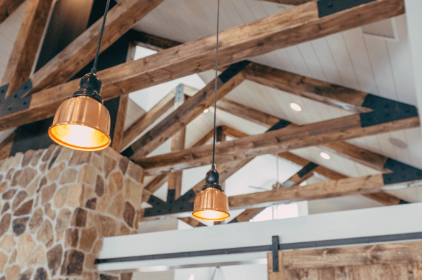 Structural beams in a barn conversion