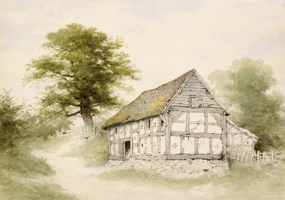 painting of an old barn in the country