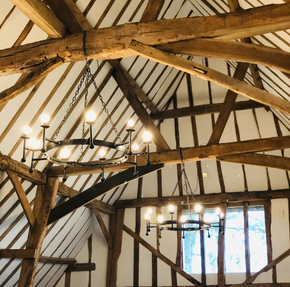 inside roof of a barn conversion showing beams