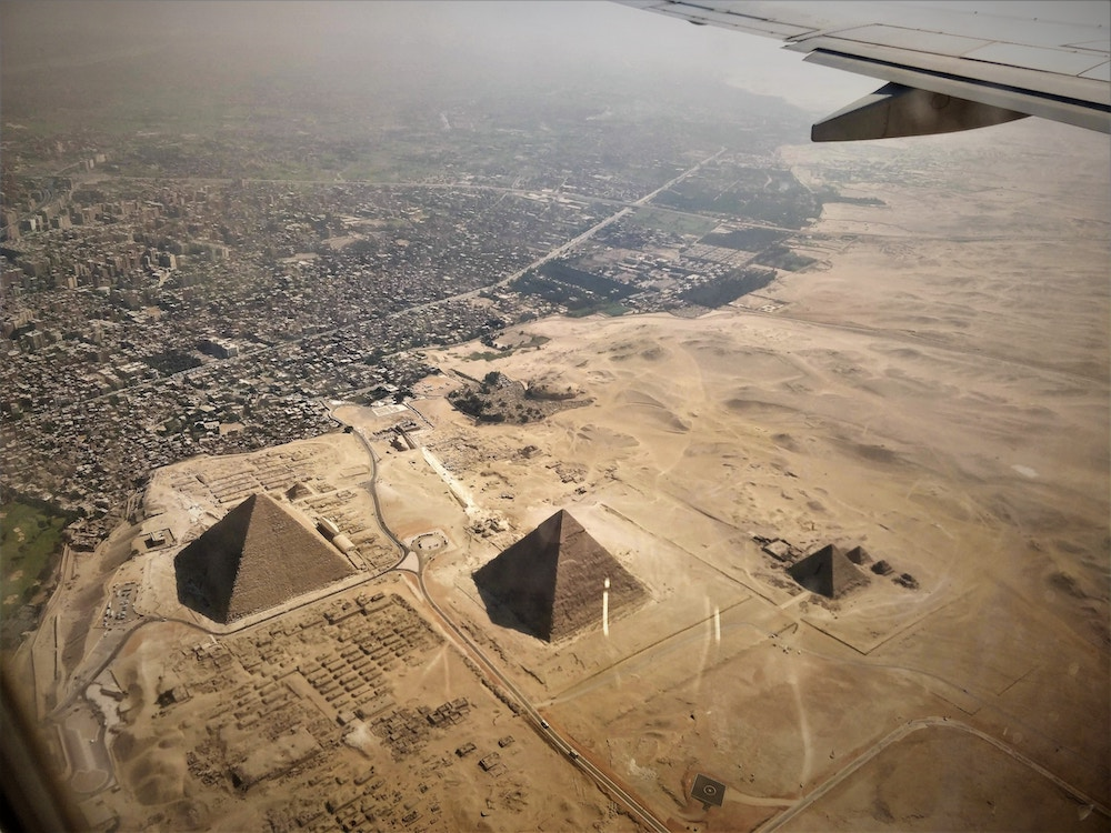 arial picture of the pyramids