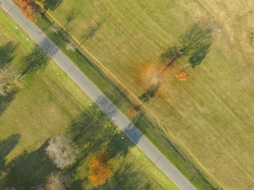 birds eye view of a country road