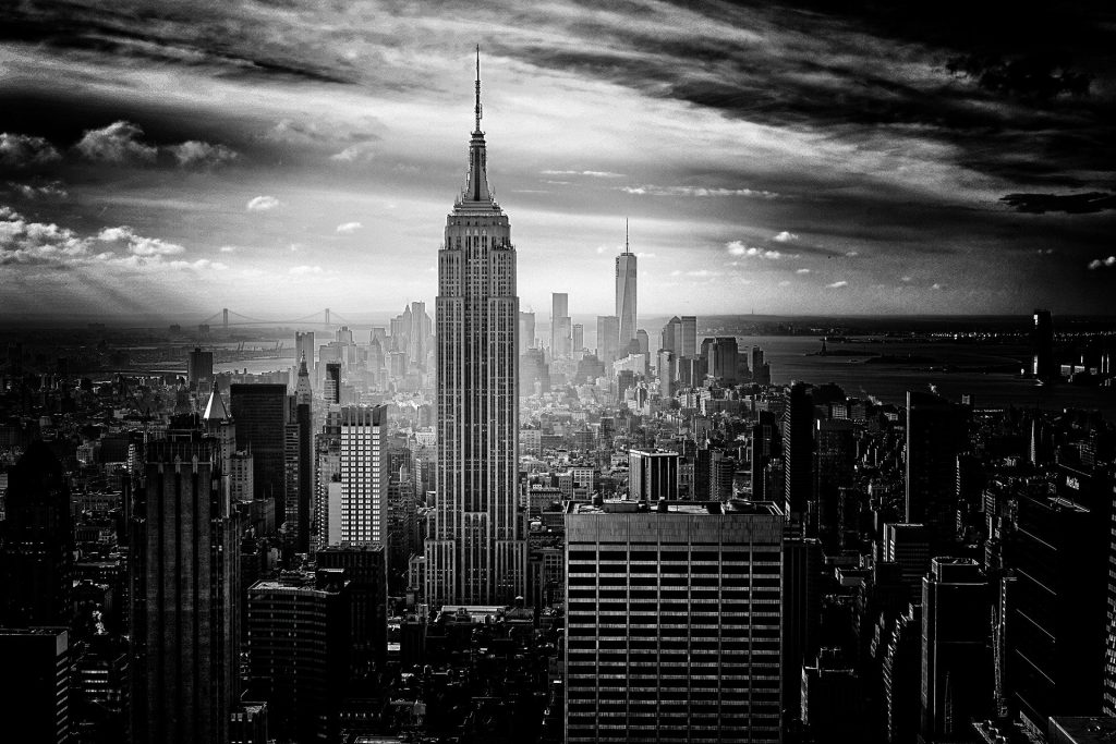 Empire state building black and white skyline