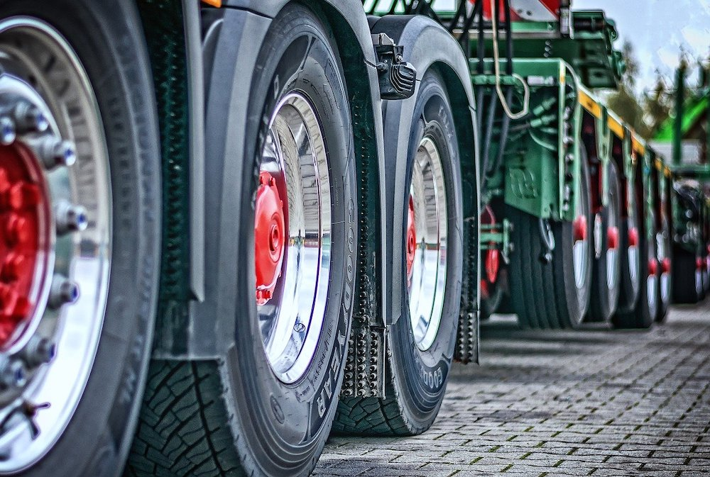 Close-up of lorry wheels.