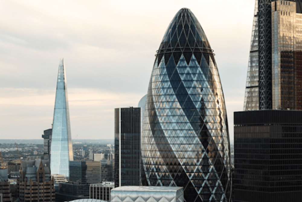 """The Swiss Re Building in London also referred to as """"The Gherkin""""."""