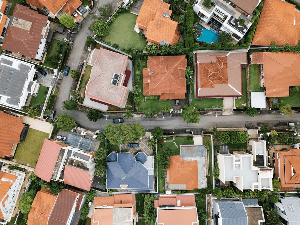 An aerial view of a suburban area