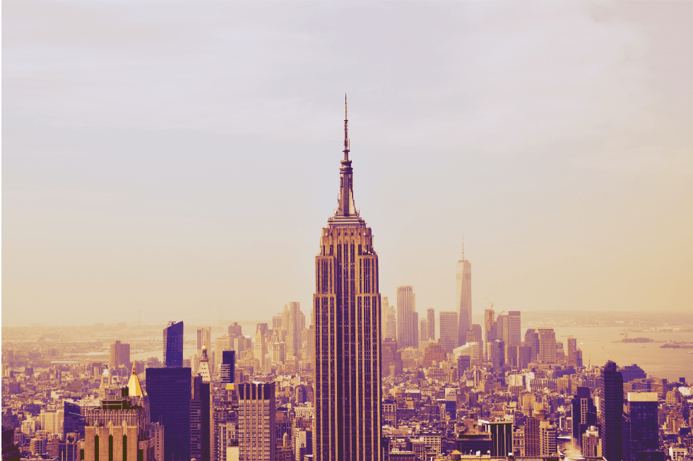 Empire State Building with a backdrop of Manhattan