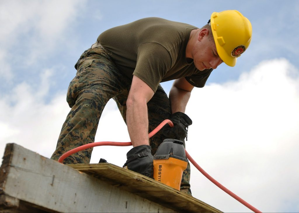 A man doing some construction work