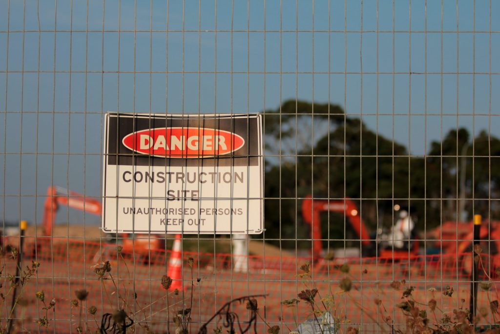 A danger sign warning about a construction site