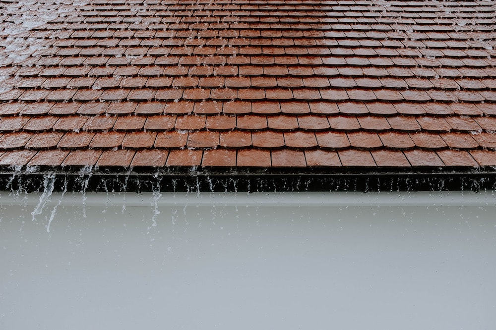Rainwater running off a roof