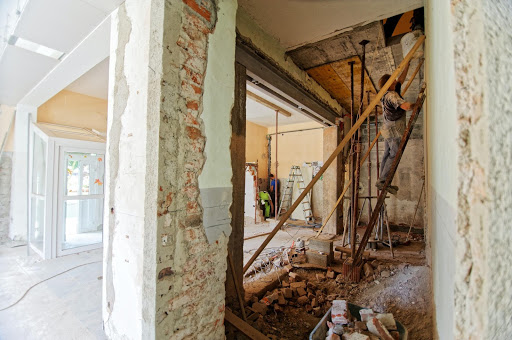 The interior of a house being renovated