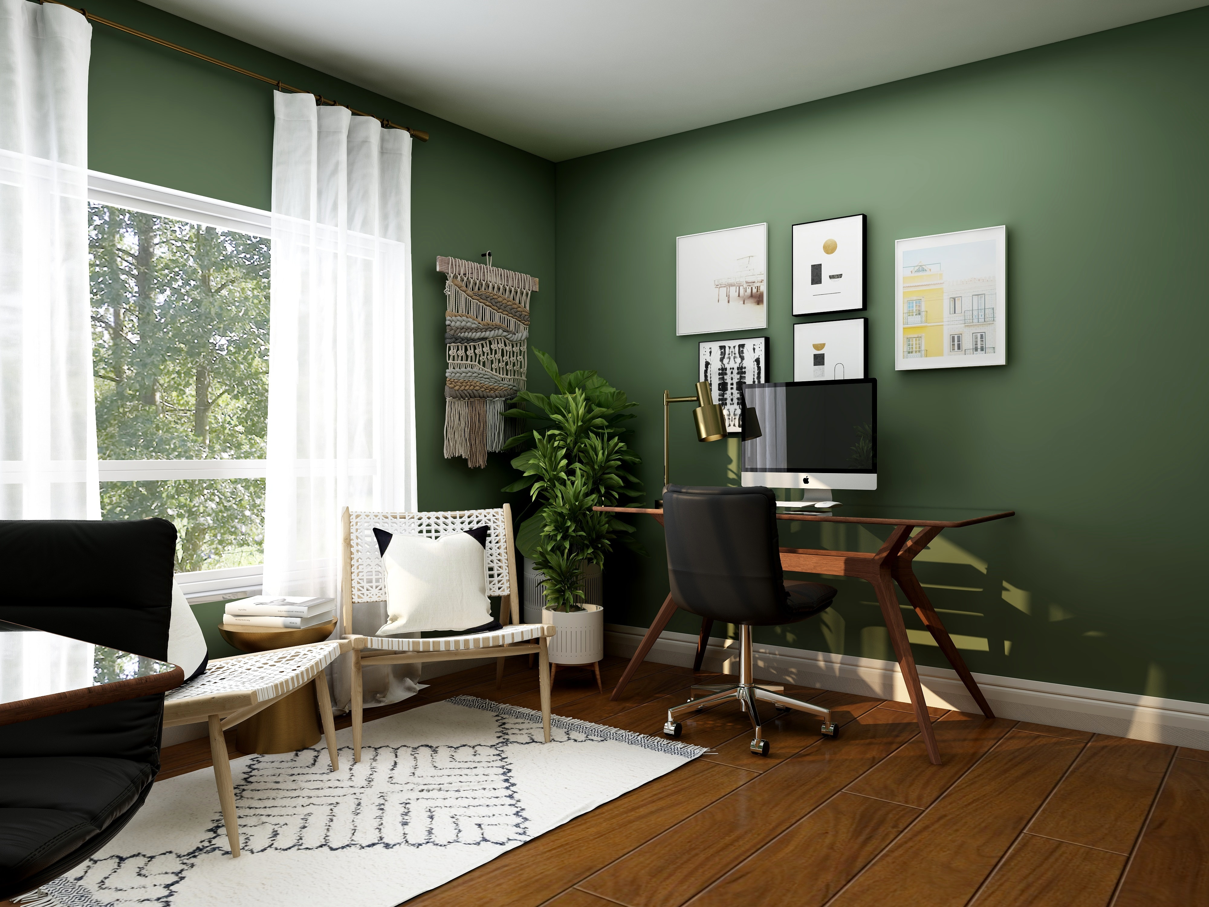 An office with green walls