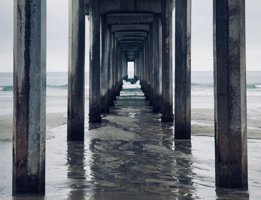 View from underneath a concrete pier with the tide out