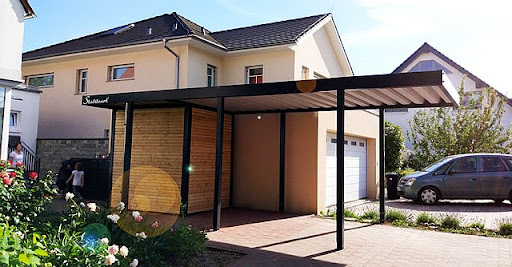 A single carport attached to a house