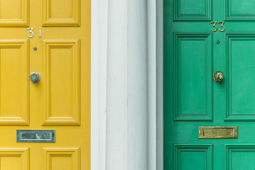 A yellow and a green door
